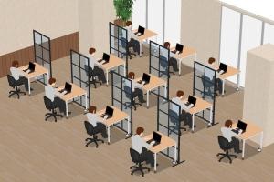 仕切りのない対面の座席配置は避け、対角か横並びにする